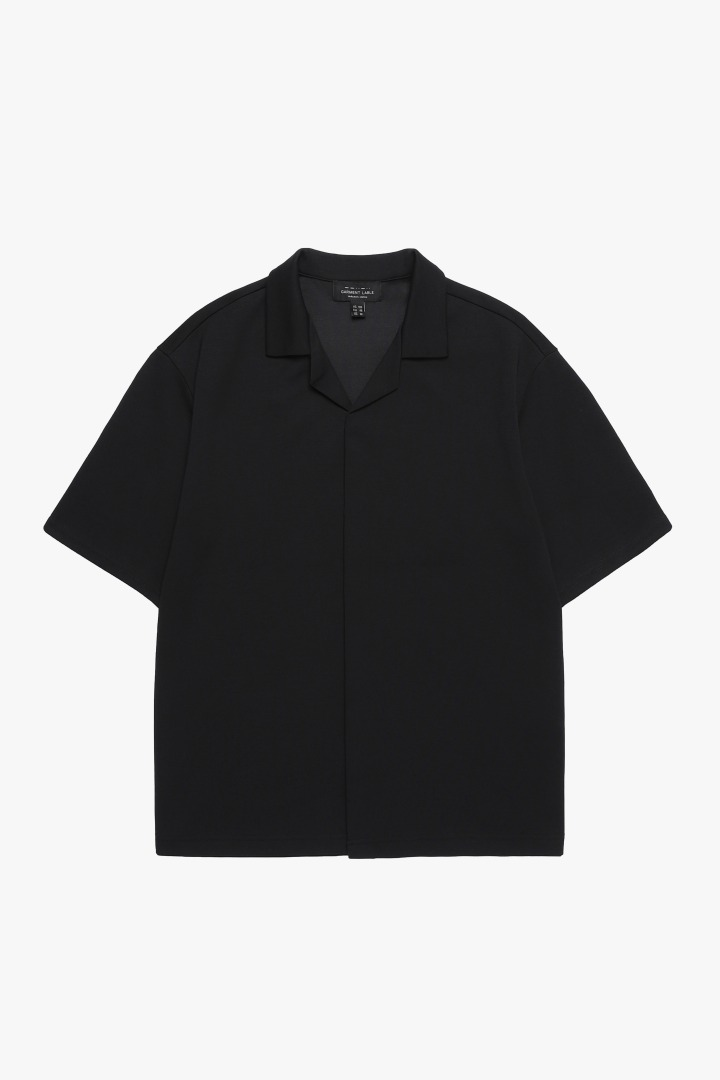 Hidden Button Collar T- Shirt - BLACK