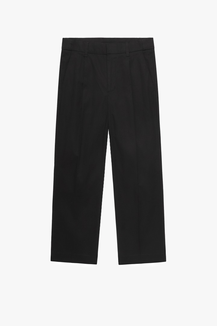 Hidden Banding Linen Wide Slacks- Black