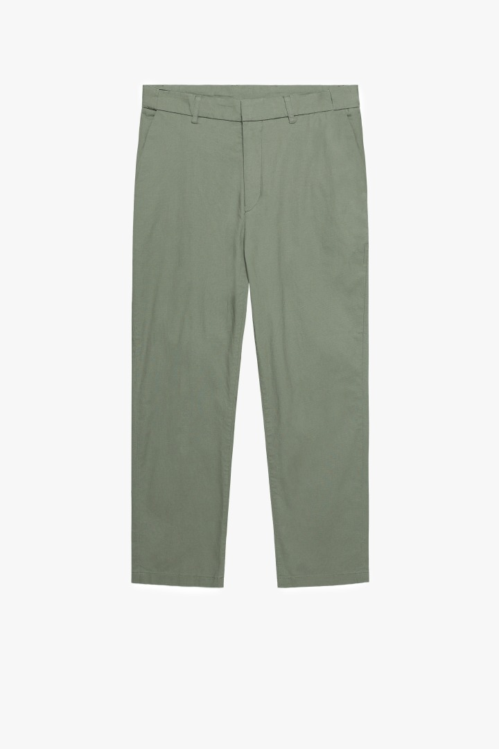 Hidden Banding Linen Tapered Slacks-Khaki